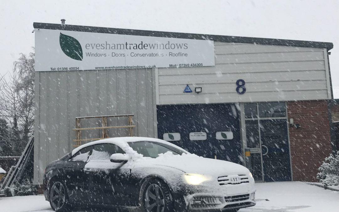 Evesham Trade Windows On a Snowy day
