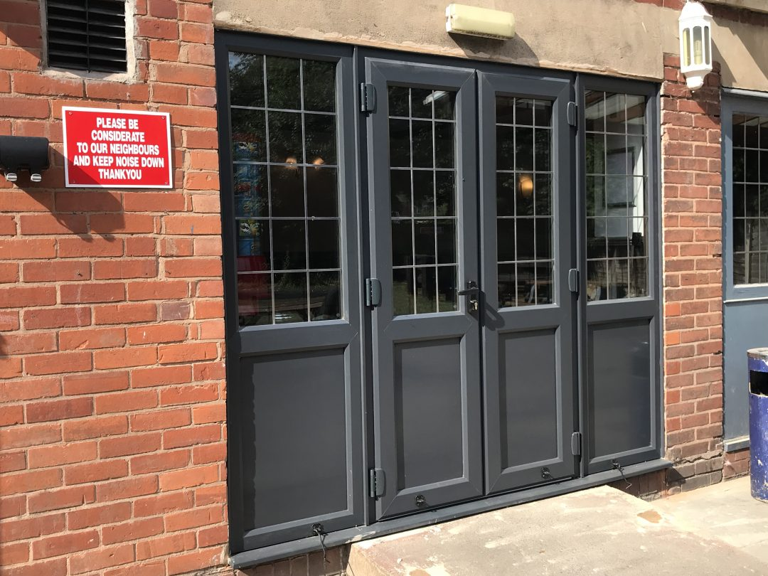 uPVC Anthracite grey with Georgian lead detail, safety glazing, matching Anthracite grey side panels