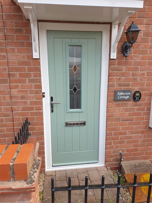 green composite residential door